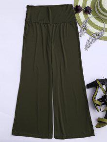 Soft High Waisted Palazzo Pants - Army Green M