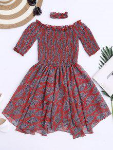 Off Shoulder Shirred Waist Paisley Choker Dress - Red