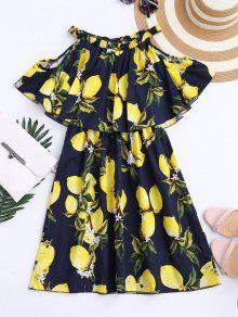 Off The Shoulder Limonin Print Overlay Dress - Purplish Blue M