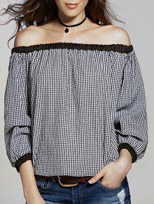 Vrac Vérifié Off The Shoulder Manches T-shirt Lanterne - Blanc Et Noir S