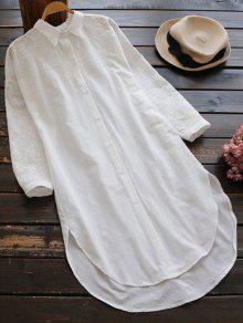 فستان مستقيم عالية انخفاض طويلة الأكمام - أبيض
