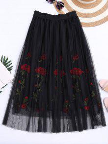تنورة شبكية عالية الخصر مطرز - أسود