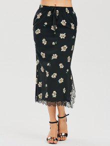 Floral Slit Lace Panel Maxi Skirt - Floral S