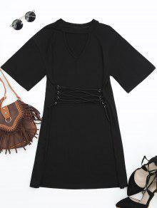 Corset Waist Choker T-shirt Dress - Black L