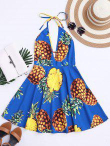 Robe évasée Halter Imprimée Tropical Ananas - Bleu M