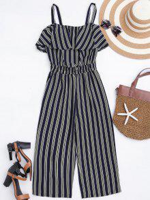 Cami Ruffles Striped Shirred Waist Jumpsuit - Stripe S