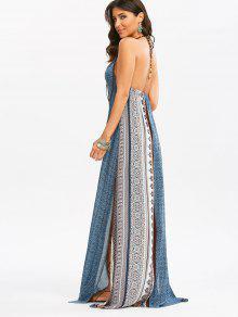 فستان مريح ماكسي عارية الظهر بوهيمي انقسام طباعة - L