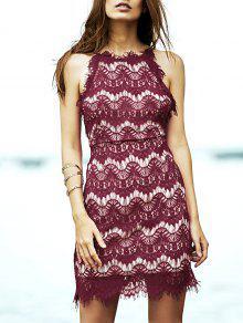 Vestido Semi-formal De Encaje Con Tirante Fino - Rojo 3xl