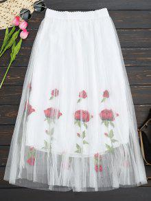 Buy Embroidered High Waisted Mesh Skirt - WHITE ONE SIZE