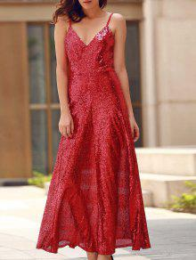 Backless Sequins Spaghetti Strap Maxi Dress - Red S