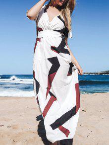 Robe Maxi Large Avec Manches Courtes - Blanc M
