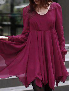 Long Sleeve Chiffon Flowing Dress - Red L