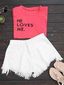 Wide Leg Frayed Hem Denim Shorts - White Xl