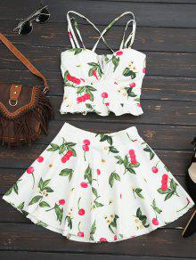 Cherry Print Two Piece Skater Dress - White