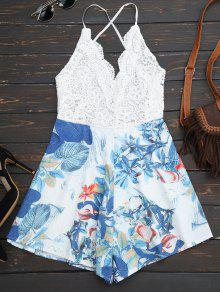 Backless Tropical Print Beach Romper - White L