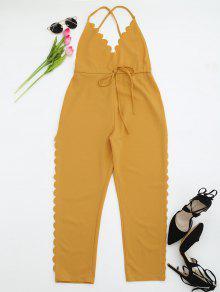 Scalloped Straight Cut Suspender Pants - Yellow S