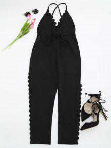 Pantalones Escotados Rectos De Tirantes Con Ribete Festoneado - Negro S