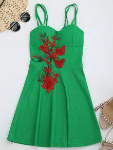 Fit And Flare Strappy Mini Dress - Green