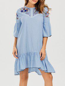 Striped Crochet Panel Embroidered Casual Dress - Stripe M