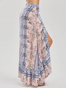 Printed Asymmetrical Wrap Skirt - Floral M