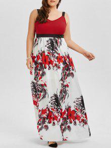 A فستان حفلة الحجم الكبير طباعة الأزهار ماكسي بخط - 4xl