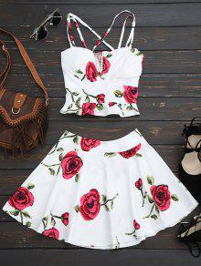 Floral Bralet Crop Top Et Mini Jupe - Blanc