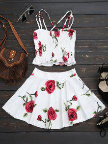 03134dbacb336 61% OFF  2019 Floral Bralet Crop Top And Mini Skirt In WHITE
