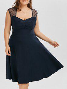 فستان كلاسيكي شبكي تريم الحجم الكبير توهج - الأرجواني الأزرق Xl