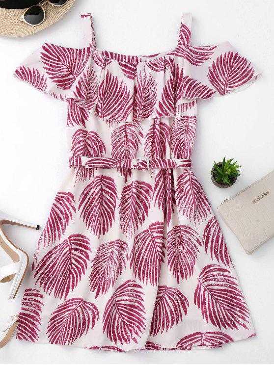 fancy Tropical Cold Shoulder A-Line Dress - COLORMIX M
