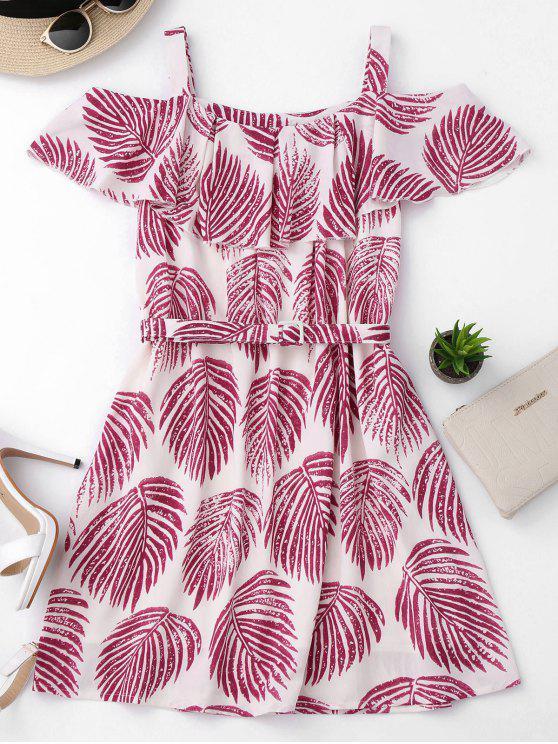 fancy Tropical Cold Shoulder A-Line Dress - COLORMIX M