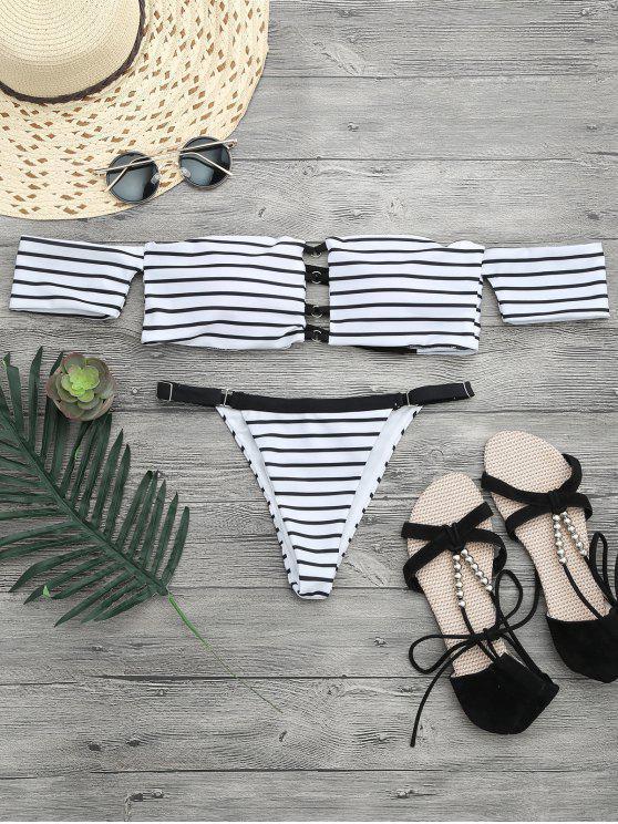 affordable V String Off The Shoulder Bikini Set - WHITE AND BLACK M