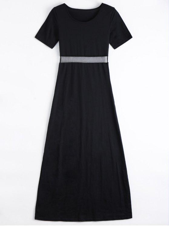 Robe Longue avec Fente Latérale à Panneau de Maille BLACK
