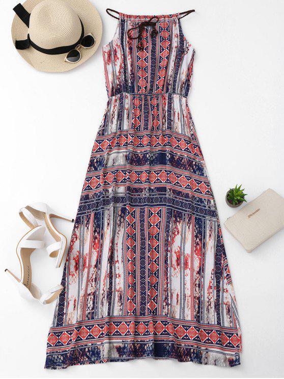 hot Beach Tribal Print Maxi Dress - COLORMIX M
