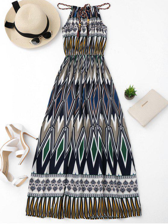 Maxi Vestido de Playa con Estampado Geométrico - Colormix Única Talla