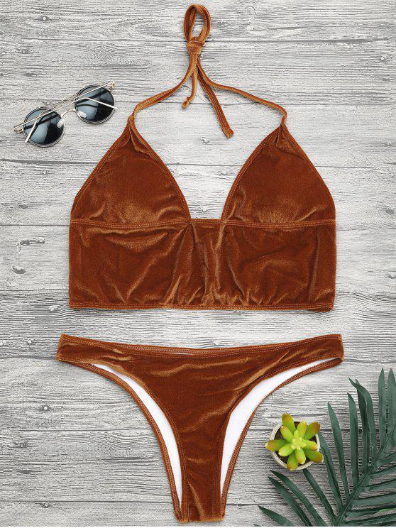 fashion Longline Bikini Top and High Leg Bottoms - GOLD BROWN S