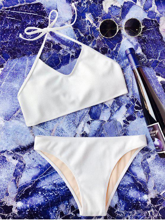 Conjunto de bikini Bralette Halter - Blanco S
