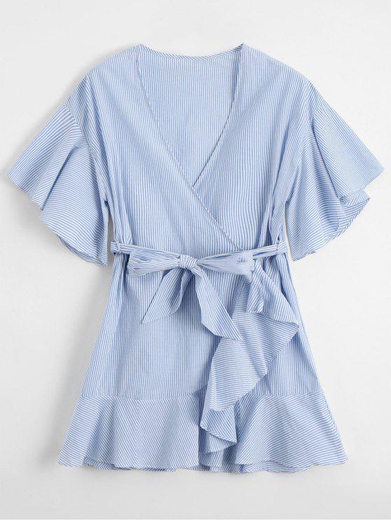 Vestido Encubierto Corto a Rayas con Escote Pico - Azul Claro L