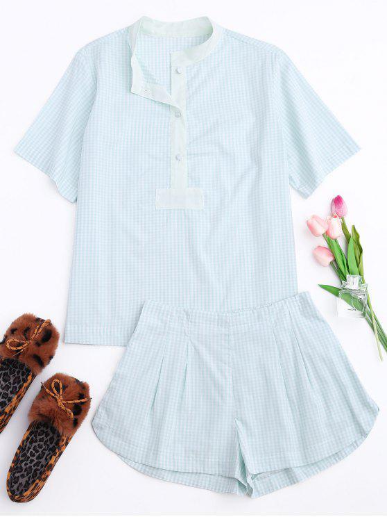 نصف زر منقوشة قميص مع لونجيوير قصيرة - مربع النقش XL