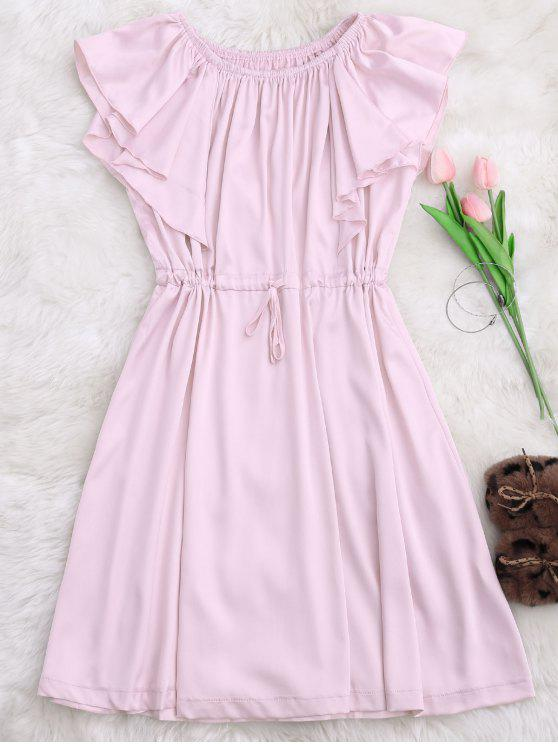 Satén de hombro vestido de dormir con cordón - Rosa S