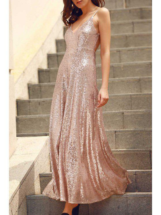 fancy Backless Sequins Spaghetti Strap Maxi Dress - PINK XS