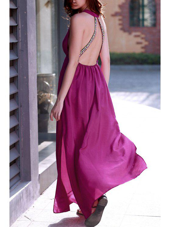 shops Purple Plunging Neck Backless Maxi Dress - PURPLE S