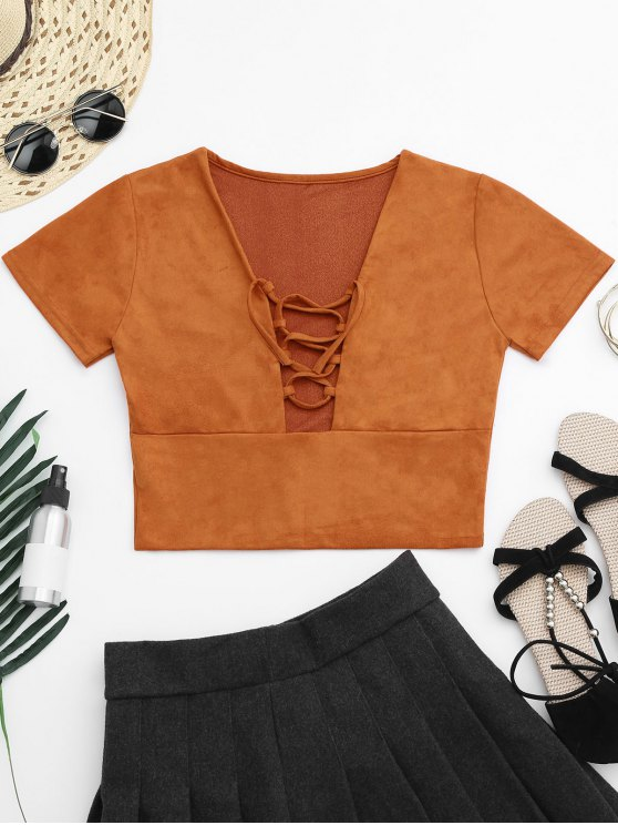 7bac4c7ba27295 27% OFF  2019 Faux Suede Lace Up Cropped Top In ORANGEPINK