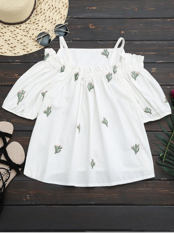 womens Cacti Embroidered Cold Shoulder Top - WHITE ONE SIZE