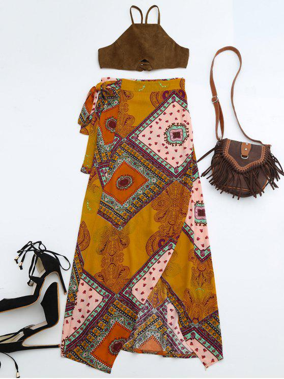 best Cropped Faux Suede Top and Wrap Tribal Print Maxi Skirt - COLORMIX L