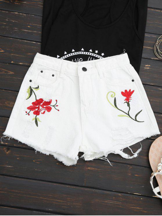 Short Coupé Denim Usé Brodé - Blanc L