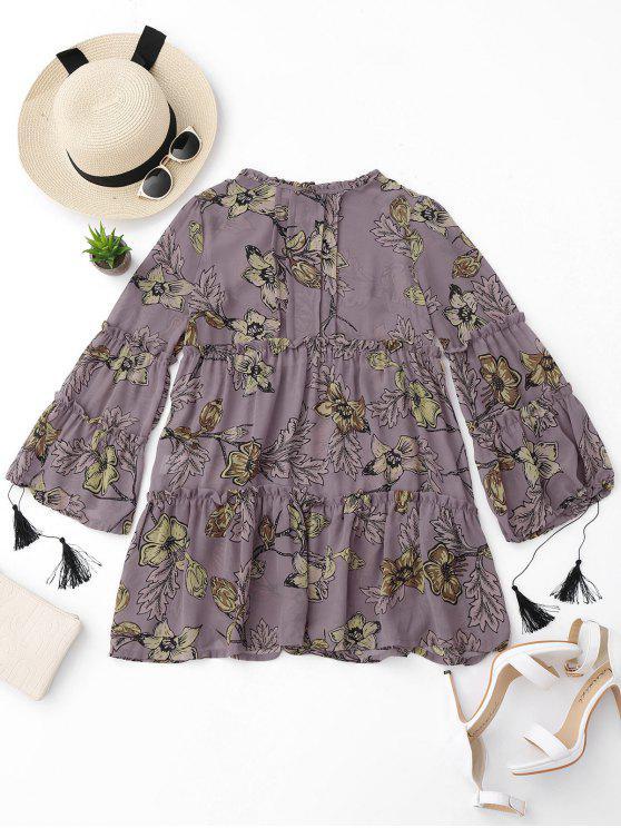 فستان تونيك طباعة الازهار كشكش - الأزهار L