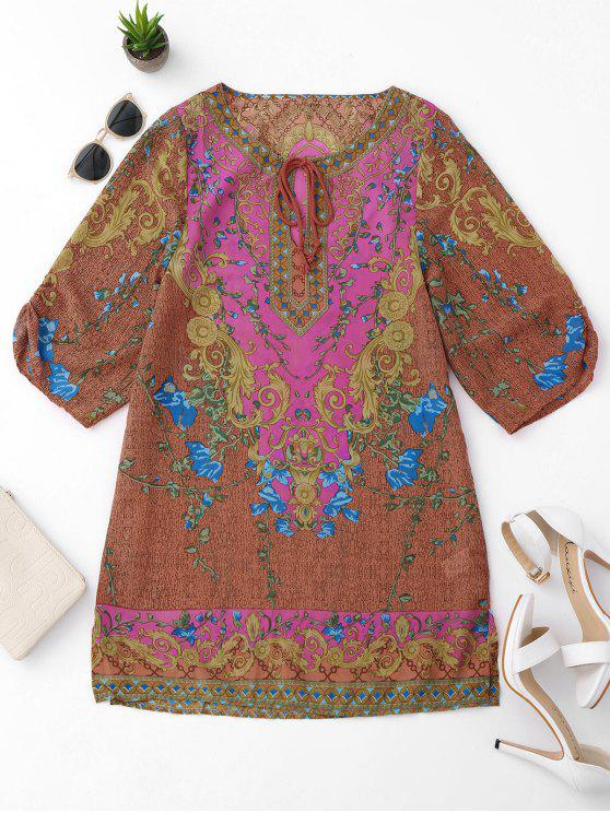 online Side Slit Ethnic Printed Tunic Dress - COLORMIX L