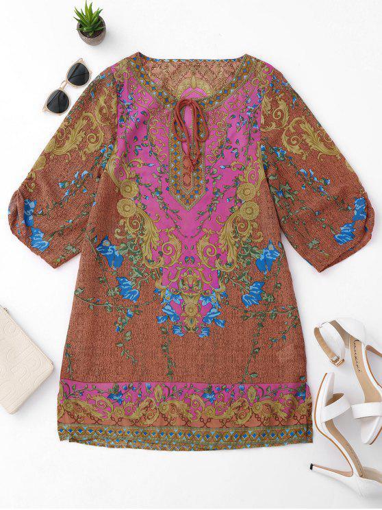 Vestido de túnica étnica con flecos laterales - Colormix L
