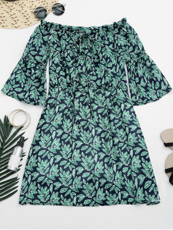shop Leaves Print Mini Off Shoulder Dress - COLORMIX M