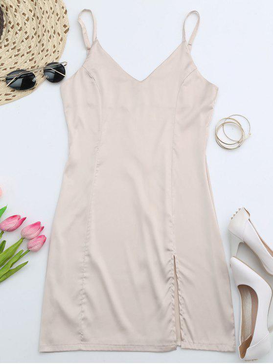 fashion Back Zipper Front Slit Club Dress - APRICOT M